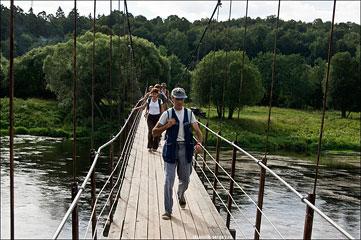Москва-река: подвесной мост