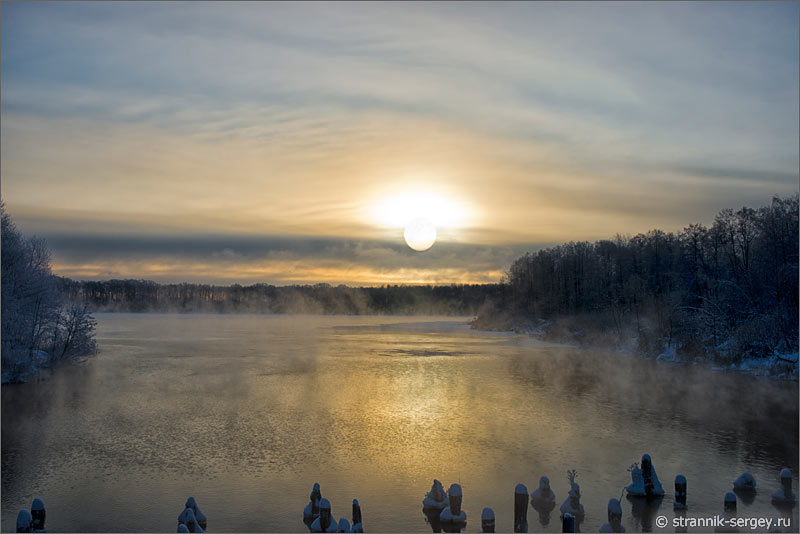 Зима восход солнца