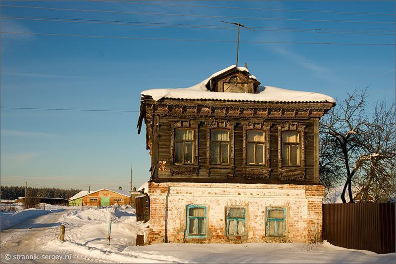 Зима село деревня старинный дом