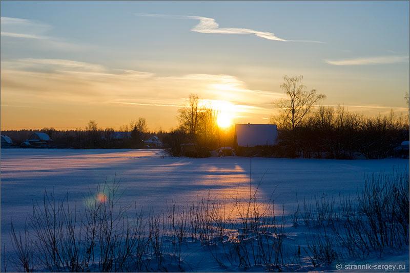 Зима заход солнца