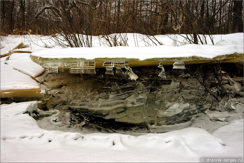 река Поля река зимой лед