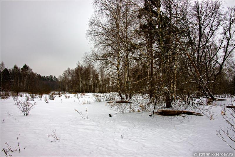 река Воймега зимой болота Мещеры