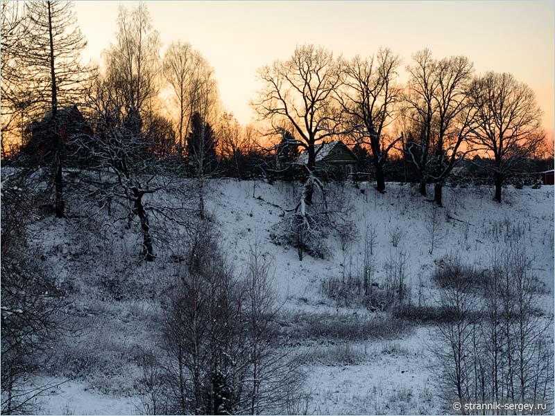 Рождественская история - зимний вечер в деревне